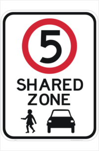 Shared Zone 5KPH sign