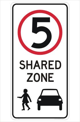 Shared Zone 5KPH sign