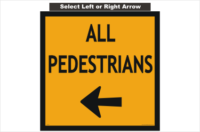 All Pedestrians Arrow sign