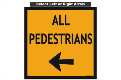 All Pedestrians Arrow sign