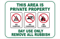 Private Property Camping sign