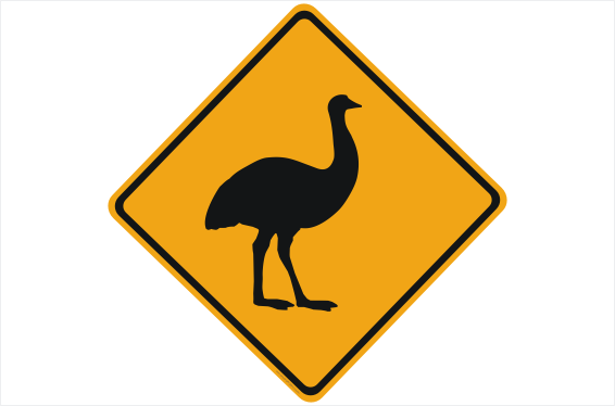 Emu Road sign