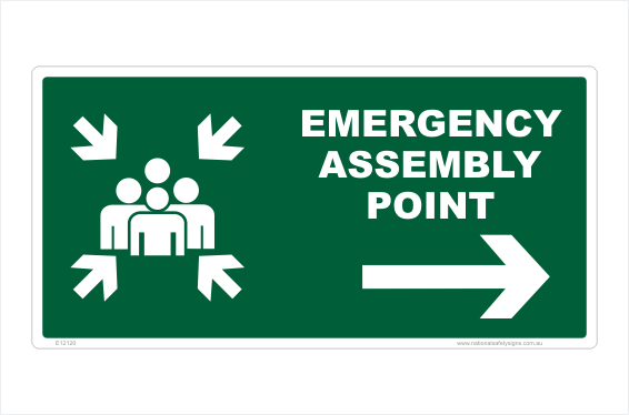 Emergency Assembly Point Right arrow sign