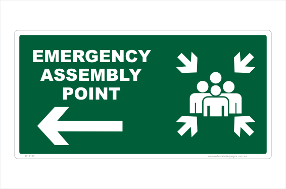Emergency Assembly Point Left arrow sign