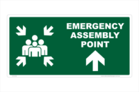 Emergency Assembly Point Ahead sign