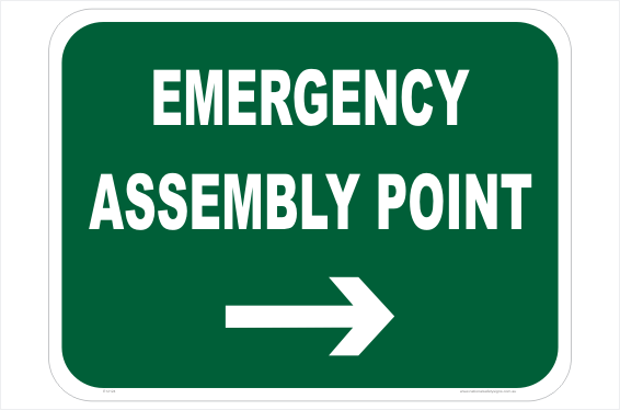 Emergency Assembly Point Right sign