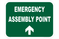 Emergency Assembly Ahead sign