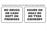 Drugs Cash window sign
