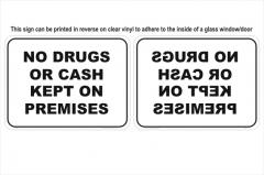 Drugs Cash window sign