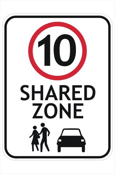 Shared Zone 10 Sign