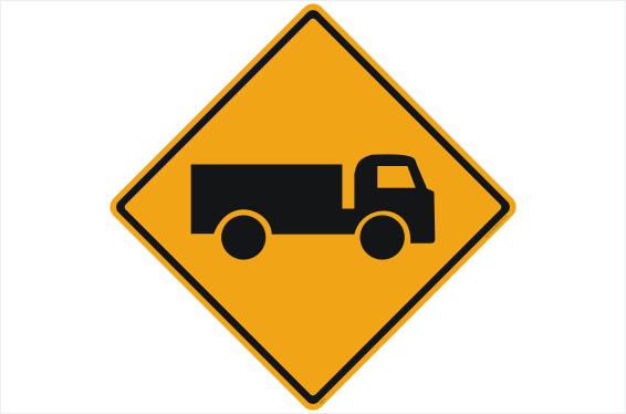 Trucks Entering sign