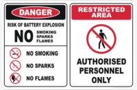 Battery Explosion Danger sign