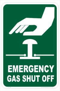 Emergency Gas Shut Off sign