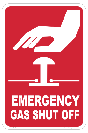 Emergency Gas Shut Off sign