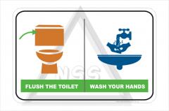 Flush Toilet Wash Hands sign