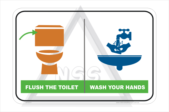 Flush Toilet Wash Hands sign