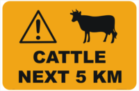 Cattle next 5km sign