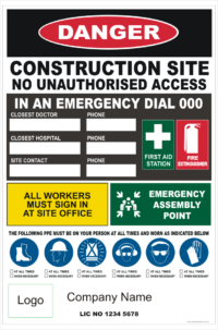 Construction Site Combination Sign