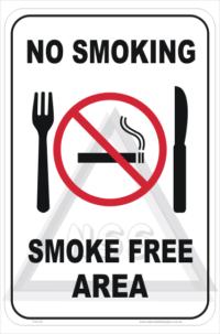 No Smoking Food Area Sign