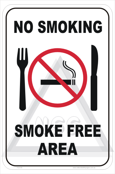 No Smoking Food Area Sign