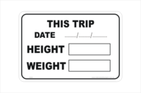Trip Height and Weight sticker