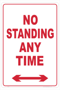 No Standing Anytime sign