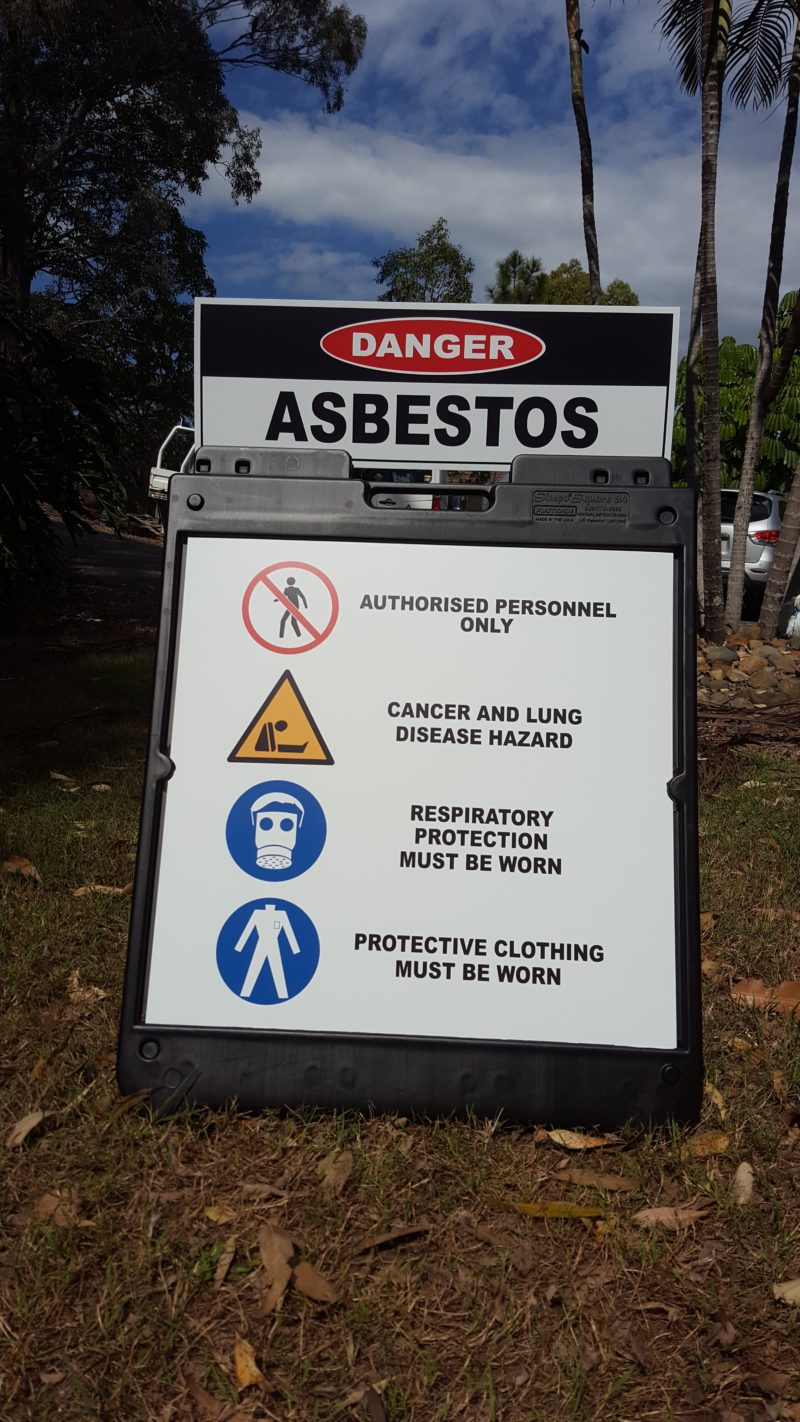 Asbestos Danger sign and stand