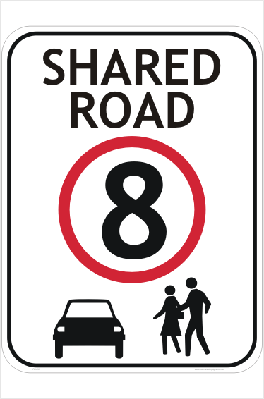 Shared Road 8 KPH Sign