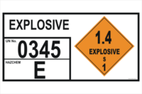 Explosives 1.4 S Storage information Panel