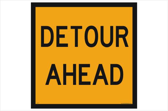 Multi Message Detour Ahead sign