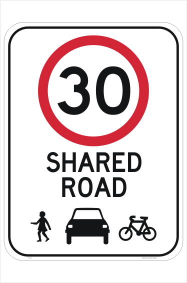 Shared Road 30 KPH Sign