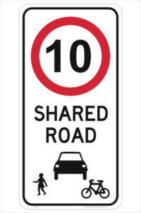 Shared Road 10KPH sign