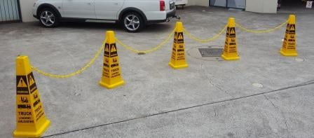 Forklift / Truck Unloading safety cones and chain barrier
