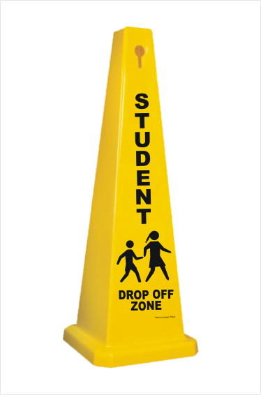 Student Drop off area warning Cone