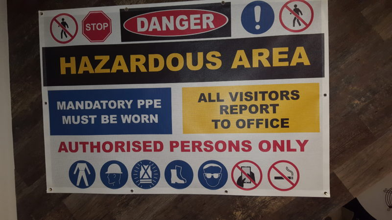 Mesh Banner Hazardous Area sign