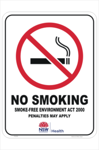 NSW No Smoking sign