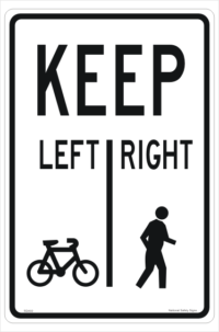 Pedestrians Keep Right sign