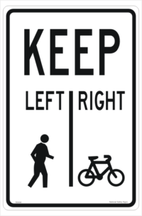 Pedestrians Keep Left sign