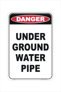 Underground water pipe sign