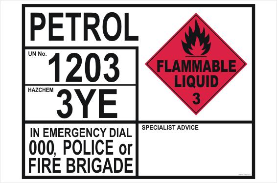 Petrol Transport Emergency Information Panel