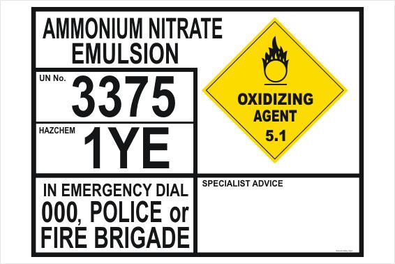 Ammonium Nitrate Emulsion transport Panel