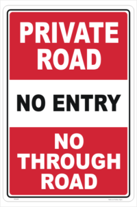 Private Road Warning Sign