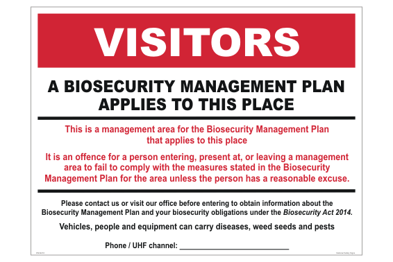 Farm Biosecurity Management Sign
