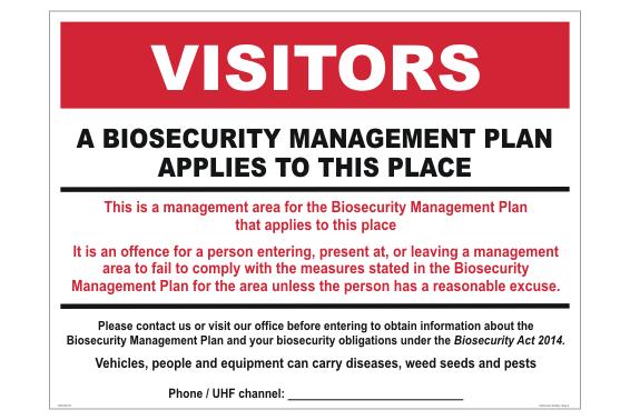 Farm Biosecurity Management Sign