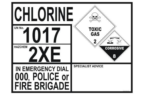 Chlorine Transport Placard