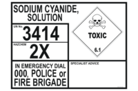 Sodium Cyanide Solution Emergency Information Panel