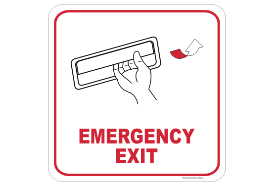 Emergency Exit Pull Handle Sign