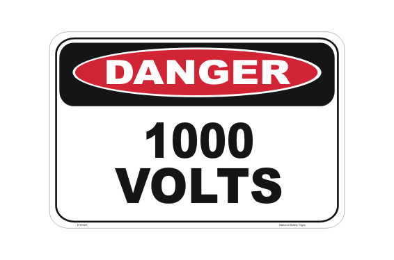 1000 Volts Danger Sign