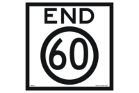 End 60 road sign