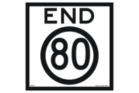 End 80 road sign
